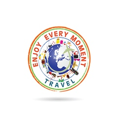 Travel grunge rubber stamp in colorful vector