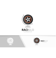 Wheel and globe logo combination tire vector