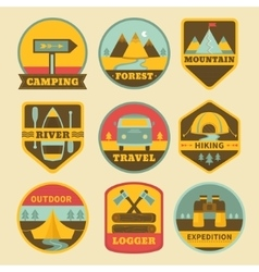 Set of vintage camping logos vector