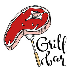 grill bar hand drawn cartoon logo vector image
