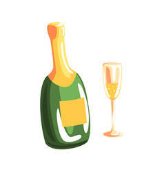 bottle of champagne and full champagne glass vector image