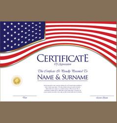 Certificate or diploma usa flag design vector