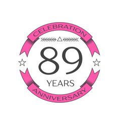 Eighty nine years anniversary celebration logo vector
