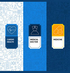 Line medicine patterns set vector