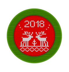 2018 knitted deer frame red vector