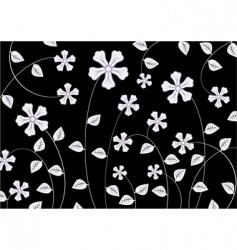 White funky flowers abstract pattern vector