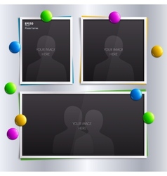 Set of empty photo frames with colorful magnets on vector