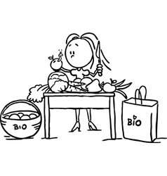 A woman stands at the table and takes food - black vector