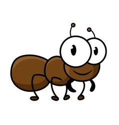 Cartoon cute brown ant character vector
