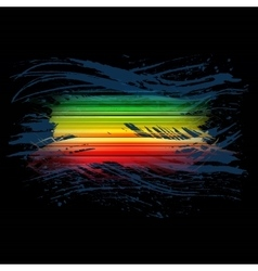 Grunge rainbow brush stroke with stripes on black vector
