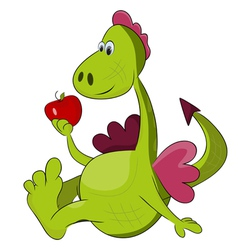 cartoon dragon with red apple vector image