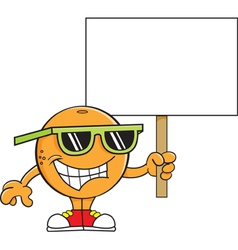 Cartoon orange holding a sign vector