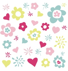 flowers and hearts greeting card vector image