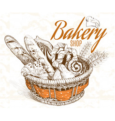Bakery basket vector