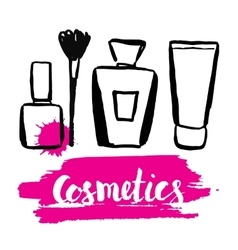 Set brush hand drawn cosmetics vector image