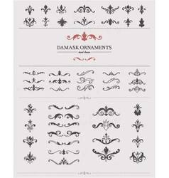 Hand drawn damask elements vector