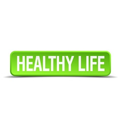 Healthy life green 3d realistic square isolated vector