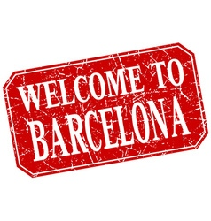 Welcome to barcelona red square grunge stamp vector