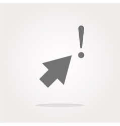 Computer button with arrow and exclamation mark vector