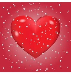 Abstract background of snow with heart vector