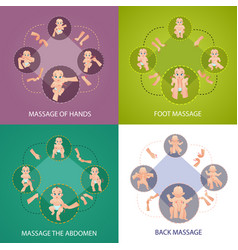 Baby massage concept icons set vector