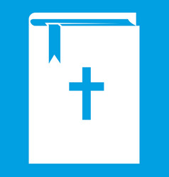 Bible icon white vector