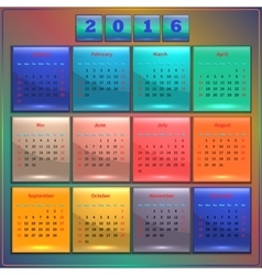 Calendar 2016 sunday first 12 months vector