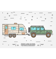 Car and travel trailers summer trip family travel vector