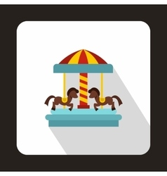 Carousel with horses icon flat style vector image