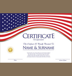 Certificate or diploma usa flag design vector