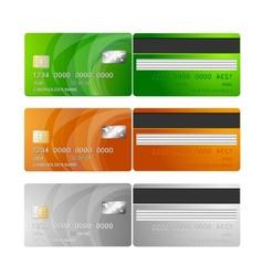 Credit cards orange green silver vector