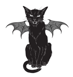 Creepy black cat with monster wings isolated vector