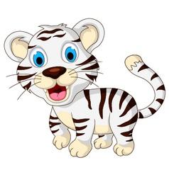 cute baby white tiger walking vector image vector image