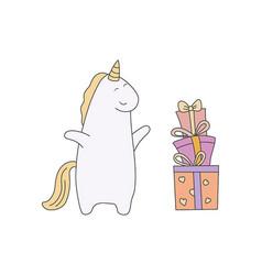 cute unicorn in cartoon style cute unicorn in vector image