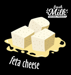 Diced feta cheese icon isolated on black vector