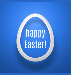 Easter egg from white paper casting shadow on blue vector