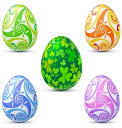Easter eggs icon set in celtic style vector
