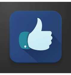 Flat design thumbs up button - like icon vector image vector image