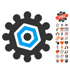 gear icon with love bonus vector image
