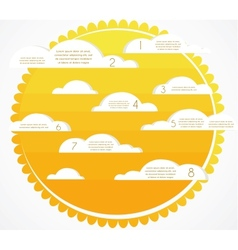 Good weather infographics sky with clouds and sun vector image vector image