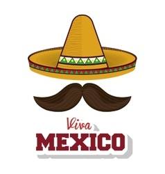 Hat and moustache mexican symbol viva mexico vector
