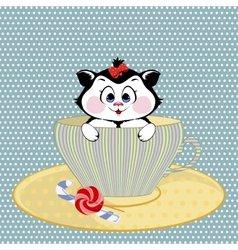 Kitten mug with candy vector