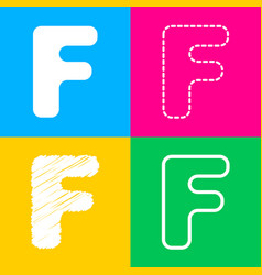 Letter f sign design template element four styles vector