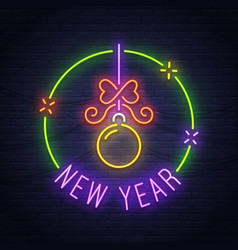 merry christmas neon sign neon sign new year vector image