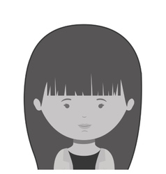 monochrome half body woman with long hair vector image