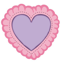 Pink color decorative frame in heart shape with vector