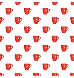 Red cup of tea pattern cartoon style vector