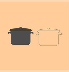 saucepan dark grey set icon vector image vector image