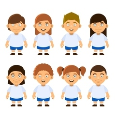 School Kids Set on White Background vector image