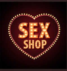 sex shop neon sign vector image vector image